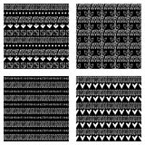 Set of seamless vector patterns. Black and white geometrical endless backgrounds with hand drawn geometric shapes, triangles, circ. Les, dots, lines, Tribal Royalty Free Stock Photo