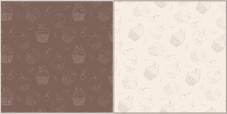 Set of Seamless Vector Patterns with Cute Hand Royalty Free Stock Photography