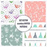 Set of seamless vector patterns with cute hand drawn fir trees, gifts, hearts, bows, christmas toys. Seasonal winter backgrounds G Stock Images