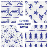 Set of seamless vector patterns with cute hand drawn fir trees, gifts, hearts, bows, christmas toys. Seasonal winter backgrounds G Royalty Free Stock Photos