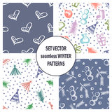 Set of seamless vector patterns with cute hand drawn fir trees, gifts, hearts, bows, christmas toys. Seasonal winter backgrounds G Royalty Free Stock Image