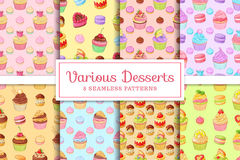 Set of 8 seamless vector patterns of desserts cupcakes, macaroons, profiteroles, meringues and tarts. Collection set of 8 seamless various desserts patterns Royalty Free Stock Photography