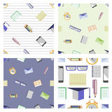 Set of seamless vector patterns. Different background with glasses, academic caps, letters, pens, pencils, notebooks and alarm clocks. Education theme. Series stock illustration