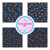 Set of seamless vector patterns with different stars. Vector illustration. Background for dress, manufacturing, wallpapers, prints. Gift wrap and scrapbook Stock Illustration