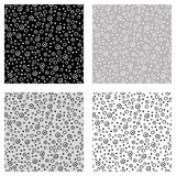 Set of seamless vector patterns with dots. Black, white, grey backgrounds with hand drawn decorative elements. Decorative repeatin Royalty Free Stock Images