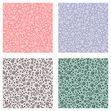 Set of seamless vector patterns with dots. Green, blue, pink backgrounds with hand drawn decorative elements. Decorative repeating Royalty Free Stock Photography
