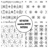 Set of seamless vector patterns with fir-trees, snowflakes. seasonal winter background with cute hand drawn fir trees Graphic illu. Stration. Series of winter Stock Photo