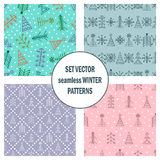 Set of seamless vector patterns with fir-trees, snowflakes. seasonal winter background with cute hand drawn fir trees Graphic illu. Stration. Series of winter Stock Image