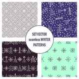 Set of seamless vector patterns with fir-trees, snowflakes. seasonal winter background with cute hand drawn fir trees Graphic illu. Stration. Series of winter Stock Images