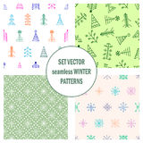 Set of seamless vector patterns with fir-trees, snowflakes. seasonal winter background with cute hand drawn fir trees Graphic illu. Stration. Series of winter Royalty Free Stock Photo