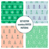 Set of seamless vector patterns with fir-trees, snowflakes. seasonal winter background with cute hand drawn fir trees Graphic illu Stock Images