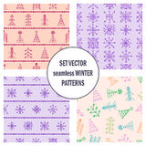 Set of seamless vector patterns with fir-trees, snowflakes. seasonal winter background with cute hand drawn fir trees Graphic illu Stock Photography
