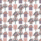 Set of seamless vector patterns with fir-trees, snowflakes.  Royalty Free Stock Photography