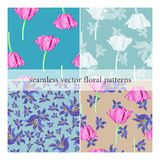 Set of seamless vector patterns with flowers stock illustration