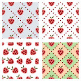 Set of seamless vector patterns with fruits. Royalty Free Stock Image