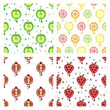 Set of seamless vector patterns with fruits. Stock Photography