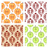Set of seamless vector patterns with fruits. Stock Photos
