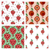 Set of seamless vector patterns with fruits. Stock Images