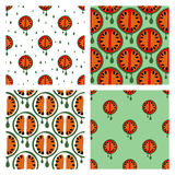 Set of seamless vector patterns with fruits Stock Image