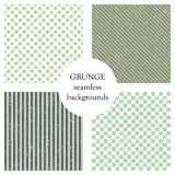 Set of seamless vector patterns. Geometric backgrounds with dots, squares, diagonal, vertical lines. Grunge texture with attrition. Cracks and ambrosia. Old vector illustration