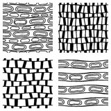 Set of seamless vector patterns. Geometric black and white geometric backgrounds. Graphic illustrations. Print for wrapping, backg Stock Image