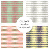 Set of seamless vector patterns. Geometric checkered backgrounds with rhombus. Grunge texture with attrition, cracks and ambrosia. Royalty Free Stock Photography