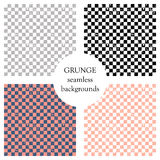 Set of seamless vector patterns. Geometric checkered backgrounds with squares. Grunge texture with attrition, cracks and ambrosia. Royalty Free Stock Photo