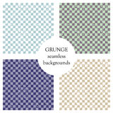 Set of seamless vector patterns. Geometric checkered backgrounds with squares. Grunge texture with attrition, cracks and ambrosia. Stock Photography