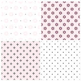 Set of seamless vector patterns with geometric flowers Stock Image