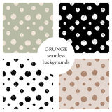 Set of seamless vector patterns. Geometric polka backgrounds with circles. Grunge texture with attrition, cracks and ambrosia. Old Stock Photos