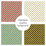 Set of seamless vector patterns. Geometric polka backgrounds with dots. Grunge texture with attrition, cracks and ambrosia. Old st Stock Photo