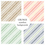 Set of seamless vector patterns. Geometric striped backgrounds with diagonal lines. Grunge texture with attrition, cracks and ambr Stock Image