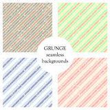 Set of seamless vector patterns. Geometric striped backgrounds with diagonal lines. Grunge texture with attrition, cracks and ambr Royalty Free Stock Photo