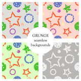 Set of seamless vector patterns geometrical backgrounds with geometric figures, forms, stars, circles Grunge texture with attritio. Set of seamless vector Royalty Free Stock Images