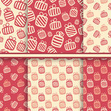 Set of seamless vector patterns with gift boxes Royalty Free Stock Images