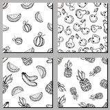 Set of seamless vector patterns. Hand drawn black and white fruits illustration of watermelon, banana, pineapple, cherry, pear, on Royalty Free Stock Images