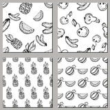Set of seamless vector patterns. Hand drawn black and white fruits illustration of watermelon, banana, pineapple, cherry, pear, on Royalty Free Stock Image