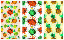 Set of seamless vector patterns. Hand drawn fruits illustration of colorful cherry, apple, pear, watermelon, pomegranate, banana, Stock Photos