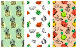 Set of seamless vector patterns. Hand drawn fruits illustration of colorful cherry, apple, pear, watermelon, pomegranate, banana, Stock Photography