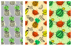 Set of seamless vector patterns. Hand drawn fruits illustration of colorful cherry, apple, pear, watermelon, pomegranate, banana, Stock Images