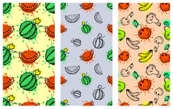 Set of seamless vector patterns. Hand drawn fruits illustration of colorful cherry, apple, pear, watermelon, pomegranate, banana, Royalty Free Stock Photography