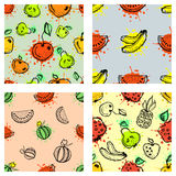 Set of seamless vector patterns. Hand drawn fruits illustration of colorful cherry, apple, pear, watermelon, pomegranate, banana, Royalty Free Stock Photos