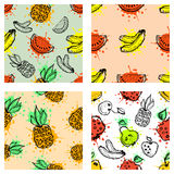 Set of seamless vector patterns. Hand drawn fruits illustration of colorful cherry, apple, pear, watermelon, pomegranate, banana, Royalty Free Stock Photo