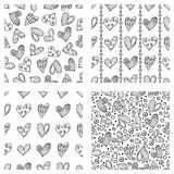 Set of seamless vector patterns with hearts. Background with hand drawn ornamental symbols and decorative elements. Decorative rep Royalty Free Stock Photos