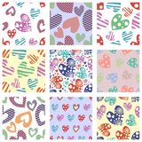 Set of seamless vector patterns with hearts. Background with hand drawn ornamental symbols and decorative elements. Decorative rep Royalty Free Stock Image