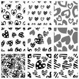 Set of seamless vector patterns with hearts. Background with hand drawn ornamental symbols and decorative elements. Decorative rep Stock Photo