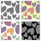 Set of seamless vector patterns with hearts. Background with hand drawn ornamental symbols. Template for wrapping, decor, surface, Royalty Free Stock Image