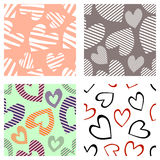 Set of seamless vector patterns with hearts. Background with hand drawn ornamental symbols. Template for wrapping, decor, surface, Royalty Free Stock Photography