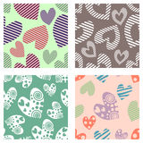 Set of seamless vector patterns with hearts. Background with hand drawn ornamental symbols. Template for wrapping, decor, surface, Stock Photo