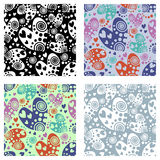 Set of seamless vector patterns with hearts. Background with hand drawn ornamental symbols. Template for wrapping, decor, surface, Royalty Free Stock Photos